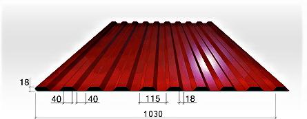 Trapecinio (profiliuota) profilio plieninė danga